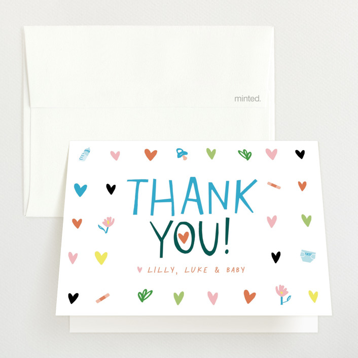 """""""Oh Boy!"""" - Whimsical & Funny Baby Shower Thank You Cards in Emerald by Michelle Shanaman."""