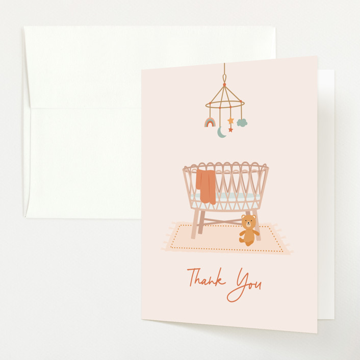 """""""Boho Bassinet"""" - Whimsical & Funny Baby Shower Thank You Cards in Creamsicle by Annie Holmquist."""