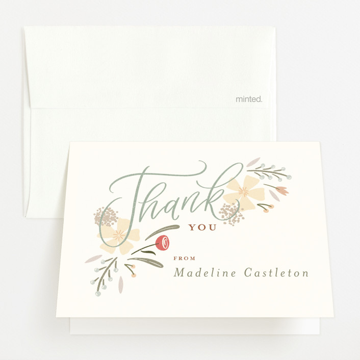 """""""Happy Florals"""" - Baby Shower Thank You Cards in Daisy by Erin German."""