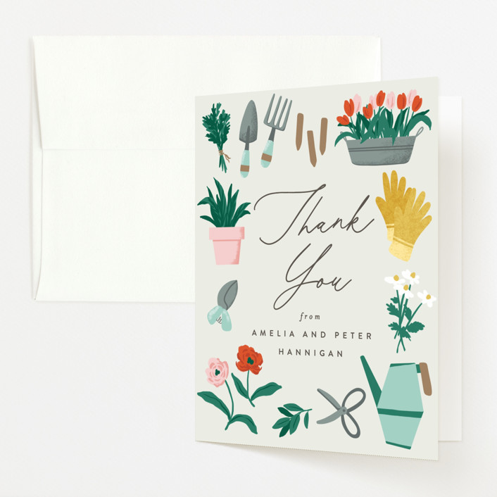 """""""Growing Garden"""" - Baby Shower Thank You Cards in Mint by Everett Paper Goods."""