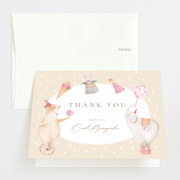 """""""Baby Circus"""" - Whimsical & Funny Baby Shower Thank You Cards in Creme by frau brandt."""