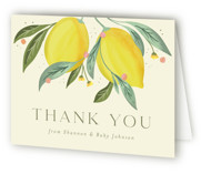 This is a yellow baby shower thank you card by Joanna Griffin called Main Squeeze with standard printing on strathmore in standard.