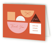 This is a orange baby shower thank you card by Corinne Malesic called Toy Car Parade with standard printing on strathmore in standard.
