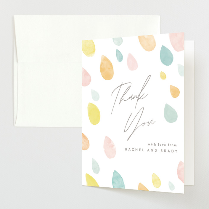 """""""Raindrops"""" - Baby Shower Thank You Cards in Sunshine by Creo Study."""