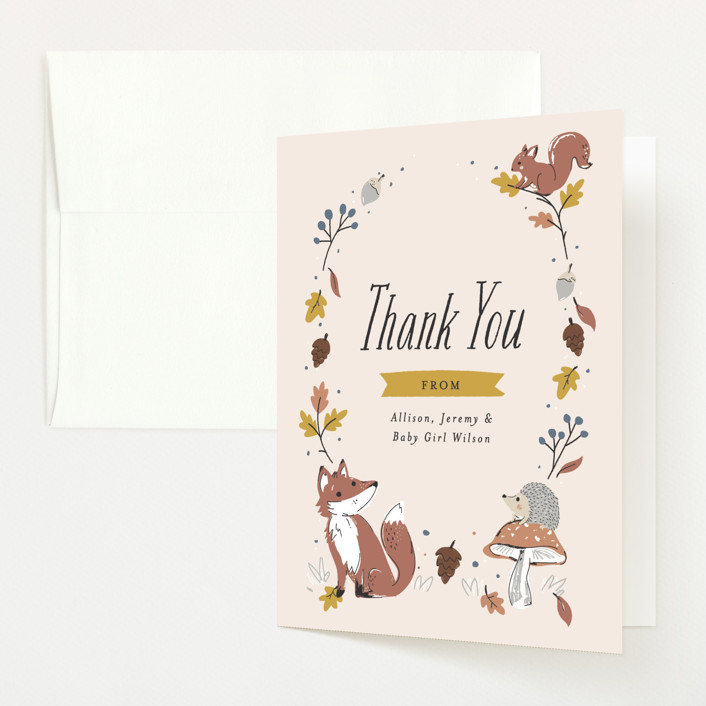 """""""Autumn Forest"""" - Whimsical & Funny Baby Shower Thank You Cards in Marigold by Melissa Egan of Pistols."""