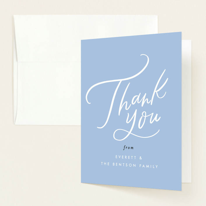 """""""Mimosas and Milk"""" - Whimsical & Funny Baby Shower Thank You Cards in Sky by Alethea and Ruth."""
