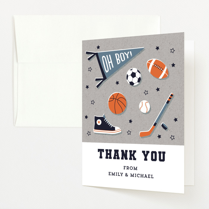 """""""Little Rookie"""" - Whimsical & Funny Baby Shower Thank You Cards in Mist by Nam Bourassa."""