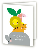 This is a green baby shower thank you card by Lori Wemple called Safari with standard printing on strathmore in standard.