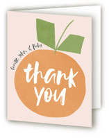 This is a orange baby shower thank you card by Lehan Veenker called Cutie Time with standard printing on strathmore in standard.