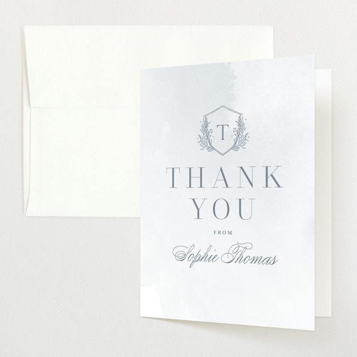 """""""Subtle Wash"""" - Baby Shower Thank You Cards in Winter Lake by Kristen Smith."""