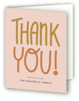 This is a pink baby shower thank you card by Jen Owens called Lettering with standard printing on strathmore in standard.