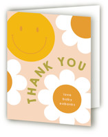 This is a pink baby shower thank you card by Baumbirdy called Groovy Baby with standard printing on strathmore in standard.