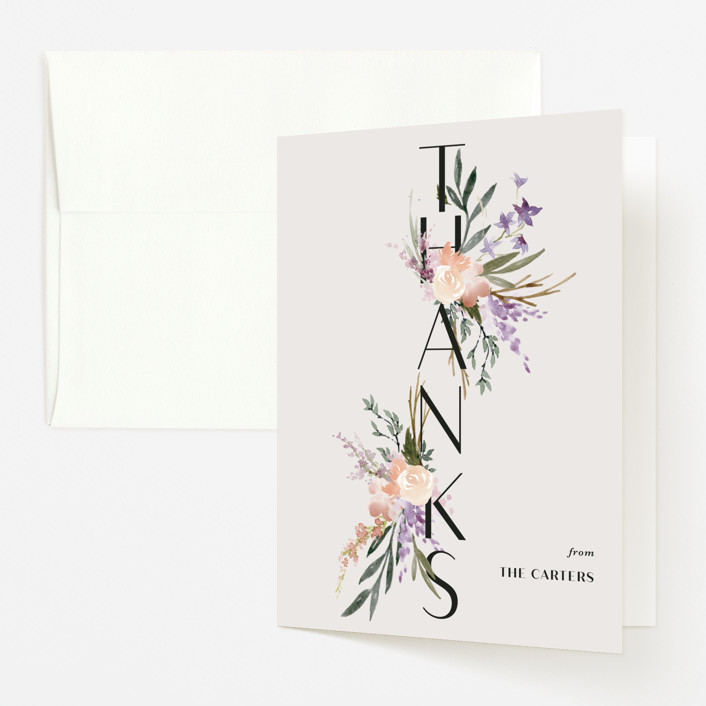 """""""Stacked Bouquets"""" - Baby Shower Thank You Cards in Amethyst by Kate Ahn."""