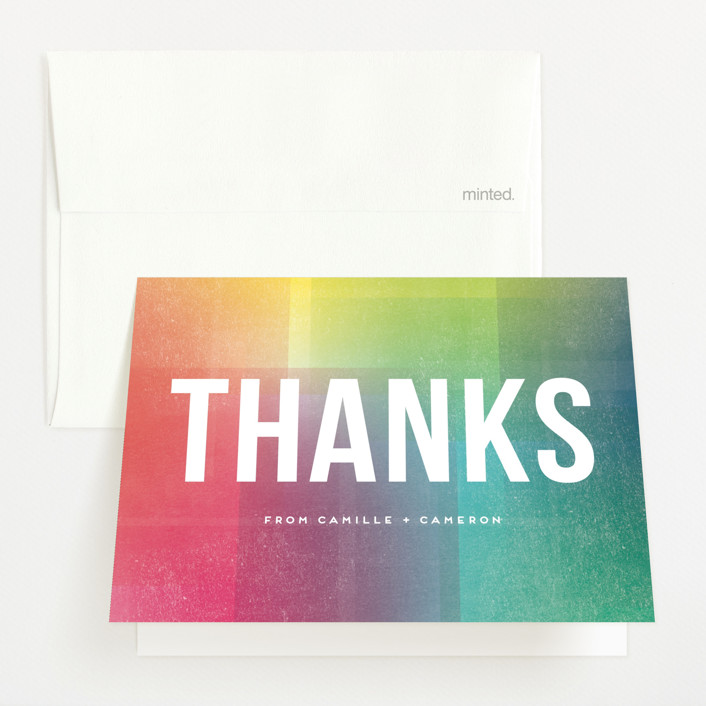 """""""Technicolor"""" - Baby Shower Thank You Cards in Rainbow by Amy Payne."""