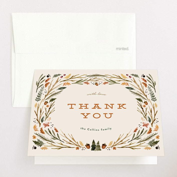 """""""woodland watercolor"""" - Whimsical & Funny Baby Shower Thank You Cards in Butternut by Kate Ahn."""