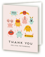 This is a pink baby shower thank you card by Genna Blackburn called Monsters with standard printing on strathmore in standard.