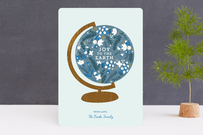 """Give Education"" - Unicef Holiday Non-photo Cards in Blueberry by Marabou Design."
