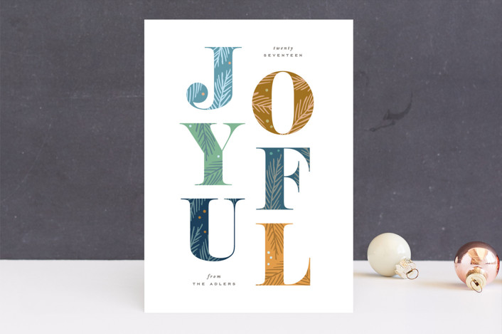 """Give Joy"" - Unicef Holiday Non-photo Cards in Blue Spruce by Hooray Creative."