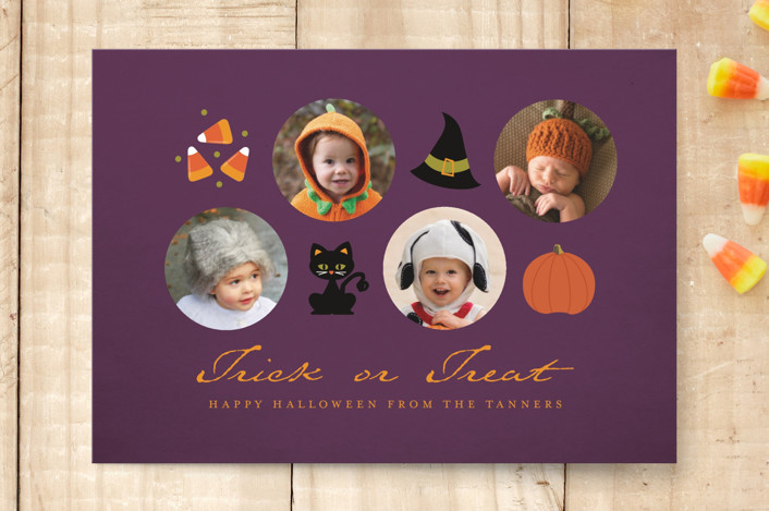 """Icons of Halloween"" - Funny, Minimalist Halloween Petite Cards in Dusk by Dawn Jasper."