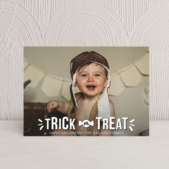 """Sweet Treat"" - Full-Bleed Photo Halloween Petite Cards in Ghost by R studio."