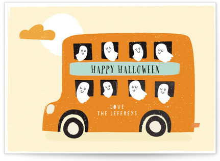 Ghost Bus Halloween Postcards