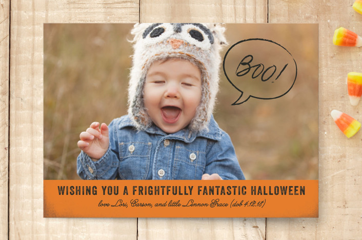 """Boo To YoU"" - Halloween Postcards in Pumpkin by Rebecca Daublin."