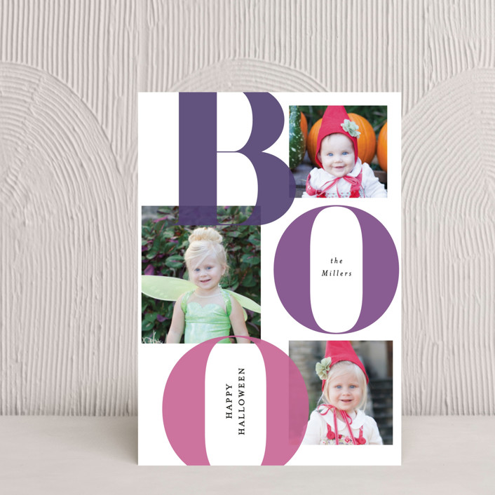 """""""Bold Boo"""" - Halloween Postcards in Plum by Itsy Belle Studio."""
