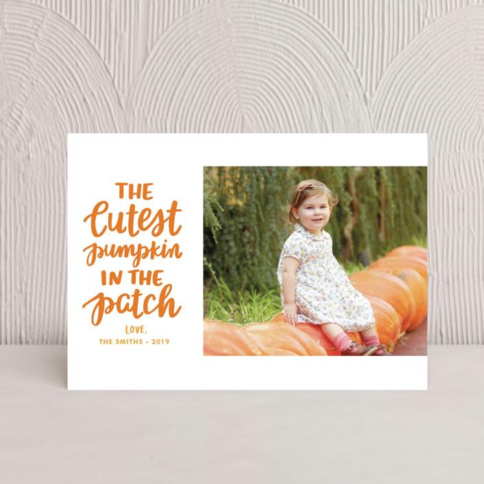 """""""Cutest Pumpkin"""" - Bohemian Halloween Postcards in Pumpkin by Little Print Design."""