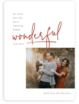 This is a white holiday photo card by Robert and Stella called some kind of wonderful with standard printing on smooth signature in standard.