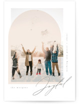 This is a beige holiday photo card by Kristie Kern called The Glow with standard printing on signature in standard.