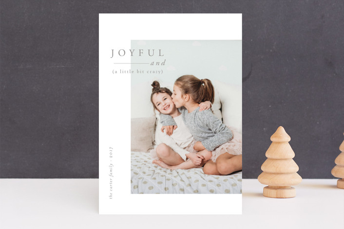 """Joyful and Crazy"" - Holiday Photo Cards in Smoke by Nikkol Christiansen."