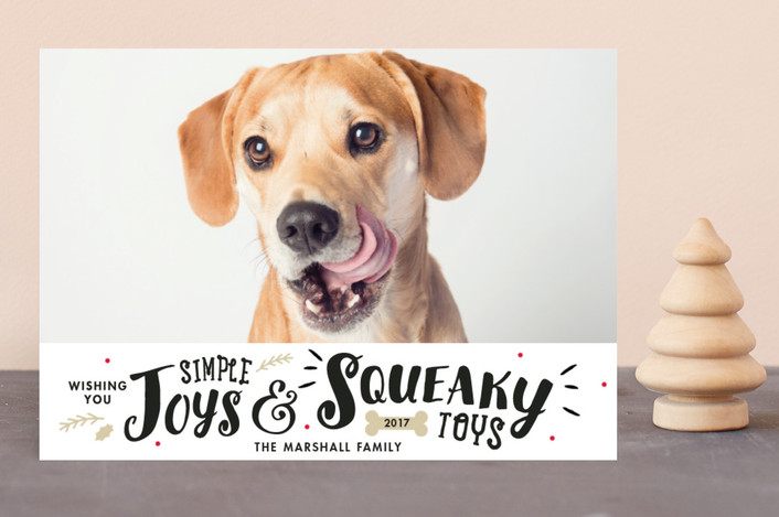 """Simple Joys, Squeaky Toys"" - Holiday Photo Cards in Vermilion by Sandra Picco Design."