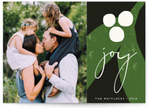 This is a black holiday photo card by Morgan Kendall called Mod Mistletoe with standard printing on smooth signature in standard.