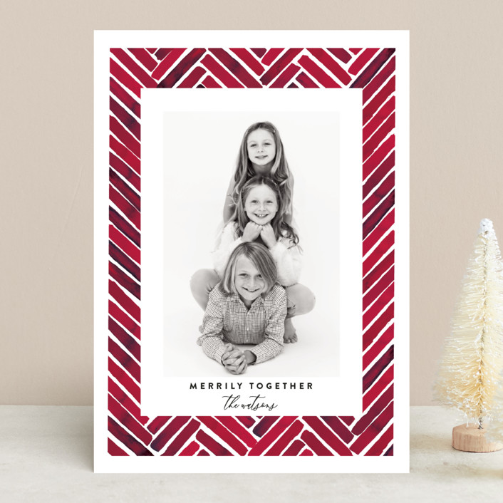 """""""Merrily Together"""" - Modern Holiday Photo Cards in Crimson by Susan Moyal."""