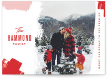 This is a red holiday photo card by Oscar & Emma called Bold Brushstrokes with standard printing on smooth signature in standard.