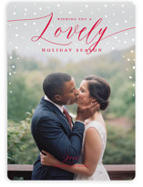 This is a red holiday photo card by Guess What Design Studio called lovely season with standard printing on smooth signature in standard.