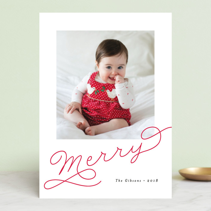 """Adorably Merry"" - Holiday Photo Cards in Holly by Chryssi Tsoupanarias."
