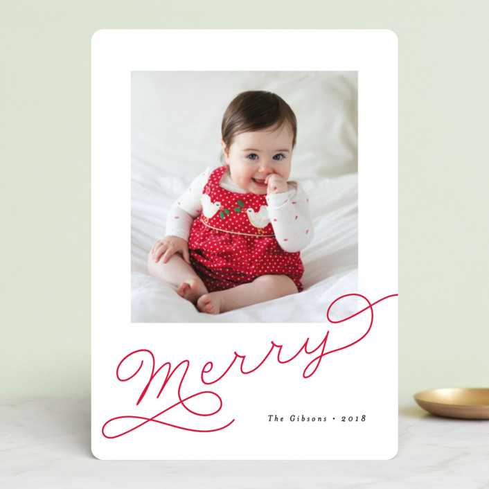 """""""Adorably Merry"""" - Holiday Photo Cards in Holly by Chryssi Tsoupanarias."""