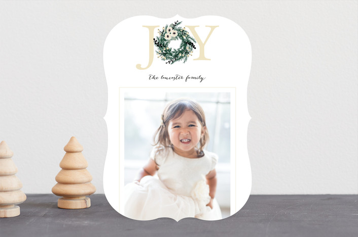 """Joyful Evergreen Wreath"" - Holiday Photo Cards in Cream by Paula Pecevich."