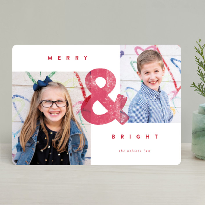 """""""AND"""" - Holiday Photo Cards in Strawberry by peony papeterie."""