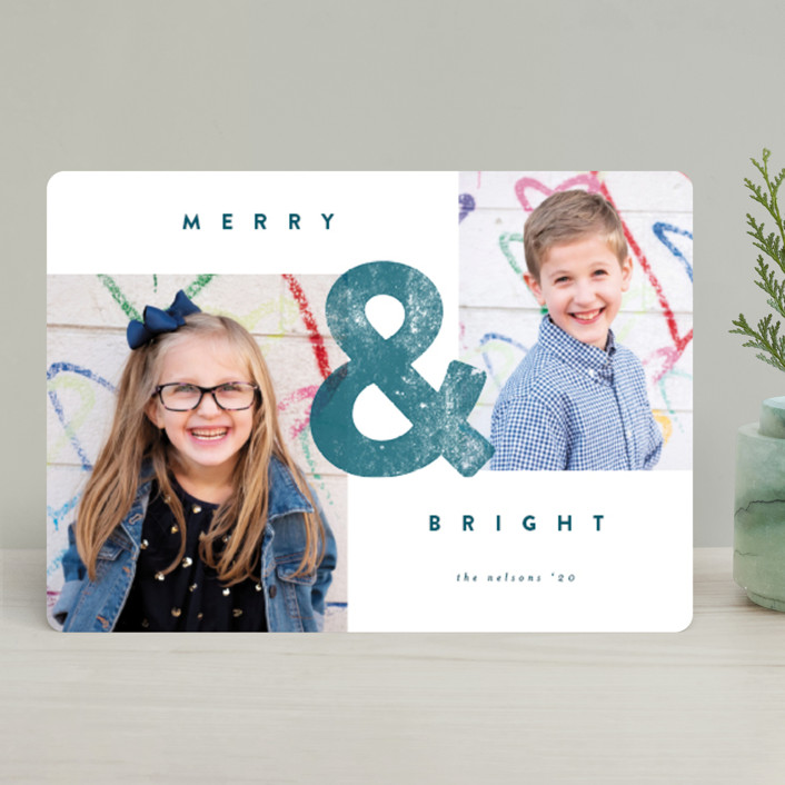"""AND"" - Holiday Photo Cards in Frost by peony papeterie."
