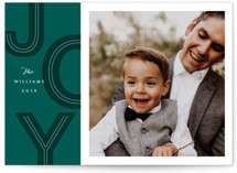 This is a green holiday photo card by Karidy Walker called retro letters with standard printing on smooth signature in standard.