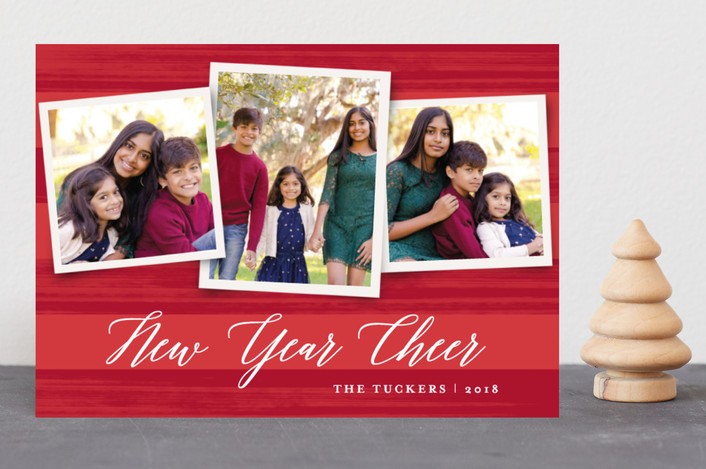 """Painted Stripes"" - Holiday Photo Cards in Holly by Anne Holmquist."