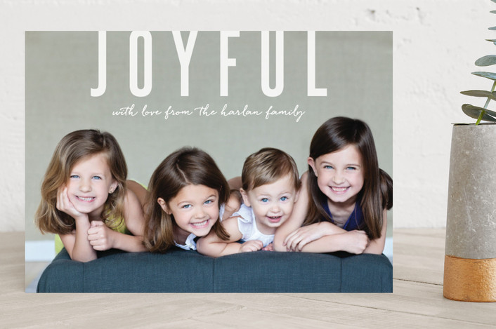 """Joyful Greetings"" - Holiday Photo Cards in snow by Sara Hicks Malone."