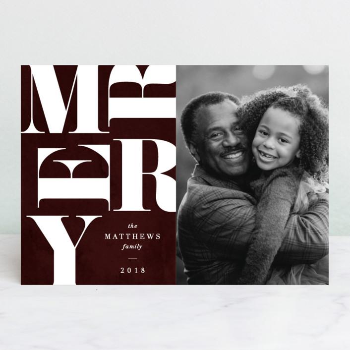 """Merry Grafik"" - Holiday Photo Cards in Garnet by Jennifer Lew."
