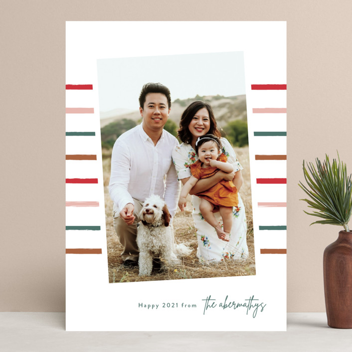 """""""Super Stripe"""" - Modern Holiday Photo Cards in Pine by Lauren Chism."""