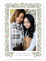 This is a black holiday photo card by Jennifer Postorino called freshly framed with standard printing on smooth signature in standard.