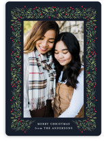 This is a blue holiday photo card by Jennifer Postorino called freshly framed with standard printing on smooth signature in standard.