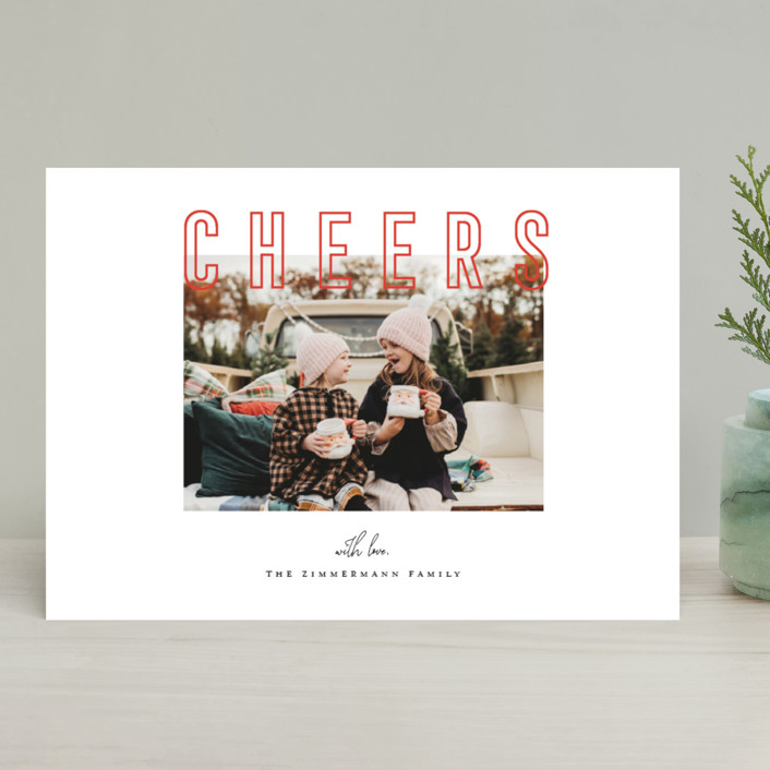 """Joyful & Peaceful"" - Holiday Photo Cards in Candy Cane by Juliana Zimmermann."