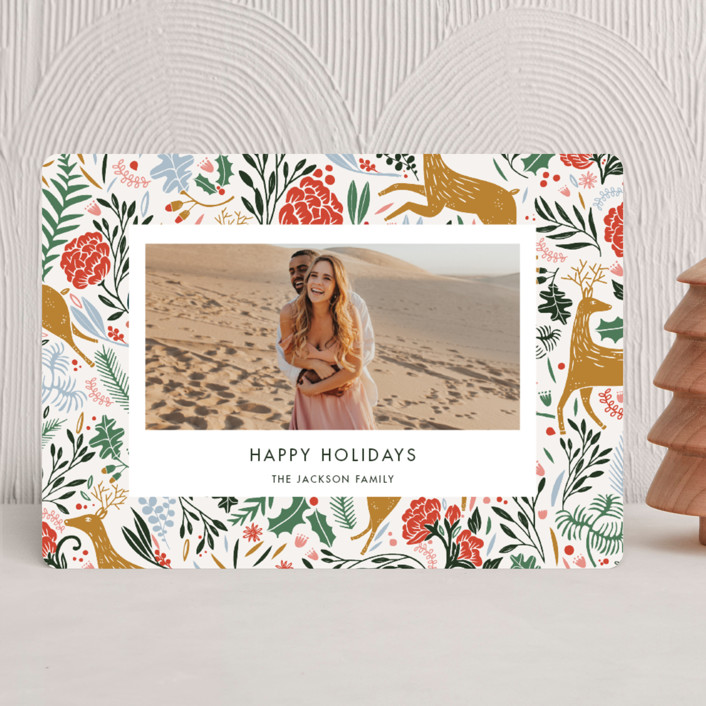 """""""Holiday Forest Photo"""" - Bohemian Holiday Photo Cards in Jour by Made by Mosa."""